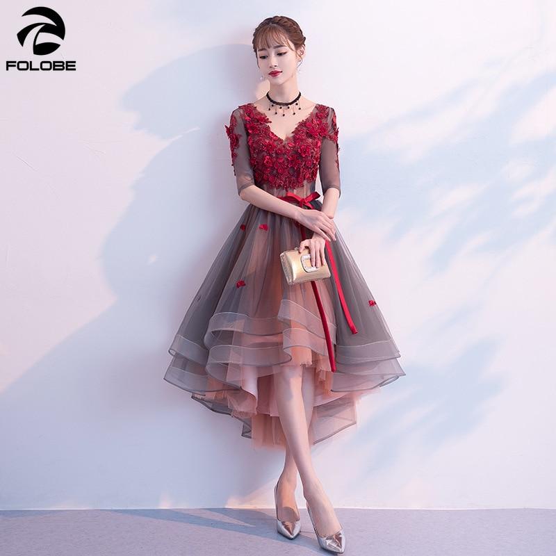 FOLOBE New Fashion Patchwork Party Dresses V Neck Flowers Appliques Mesh Women Formal Dress Vestidos