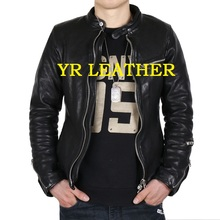 YR!Free shipping.Pakistan tanning sheepskin.quality Luxury motor biker leather jacket,mens fashion genuine leather coat,classic