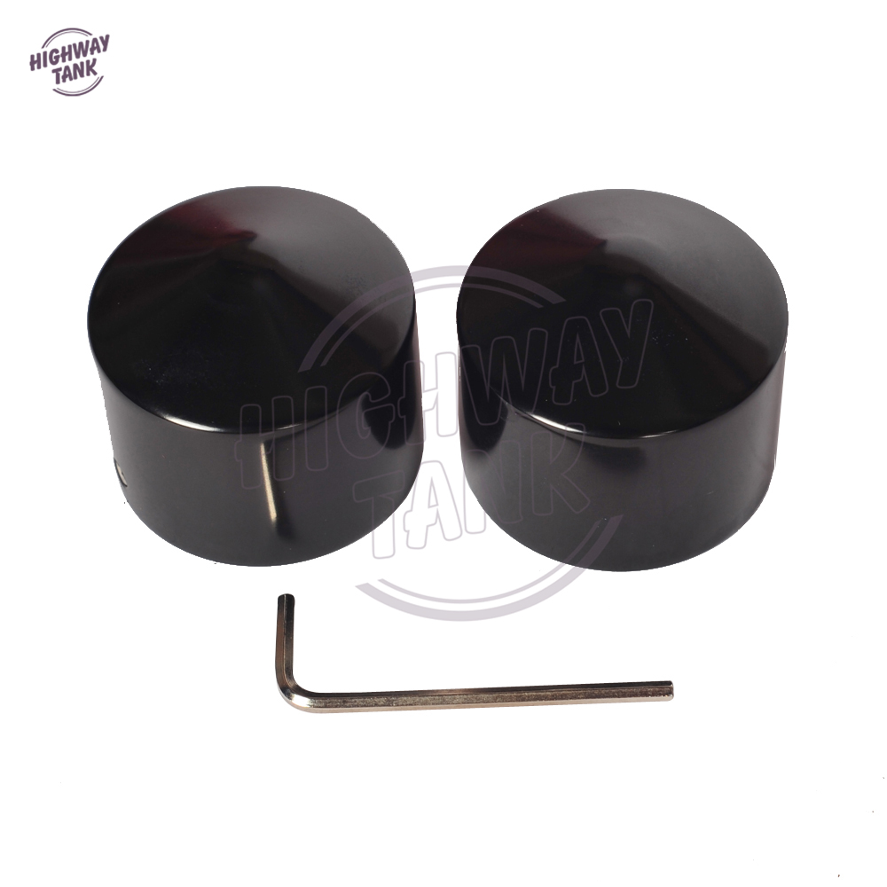 Black Motorcycle Front Axle Nut Cover Bolt case for Harley Touring Softail Road King Glide Dyna black spun blade spinning front axle cap nut cover for harley dyna touring xl xg softail motorcycle