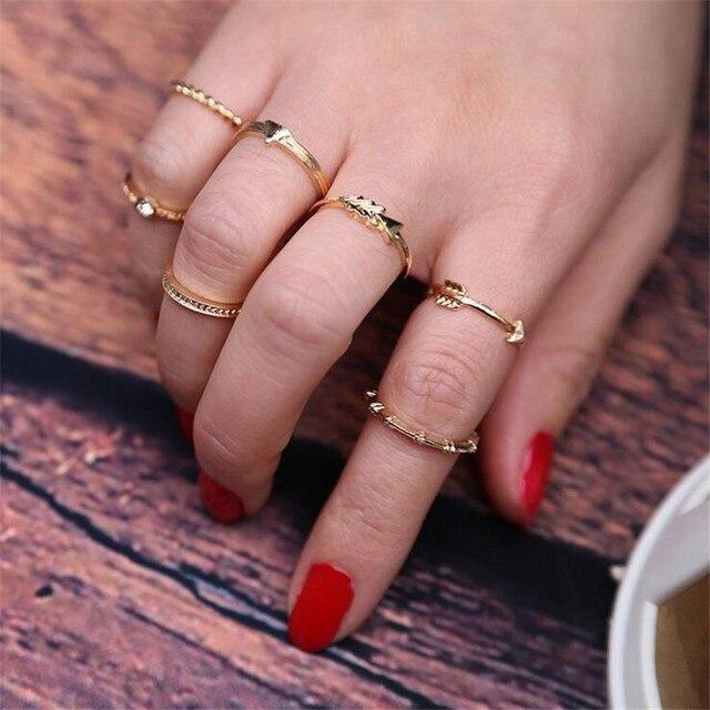 7pcs Set Boho Vintage Punk Gold Ring Midi Finger Rings For Women