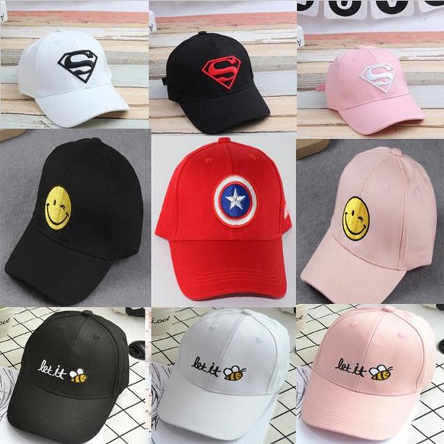 2017 verano niños hip hop gorra de béisbol Superman Batman niños Sol  sombrero 18 colores Niños 232e4b5b6d8