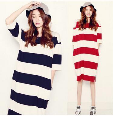 Novo Azul Branco/Vermelho e Branco Listrado Mulheres Grávidas Vestidos Simples Big Grande Tamanho Mulheres Grandes Vestidos de T-shirt de Algodão, alta qualidade