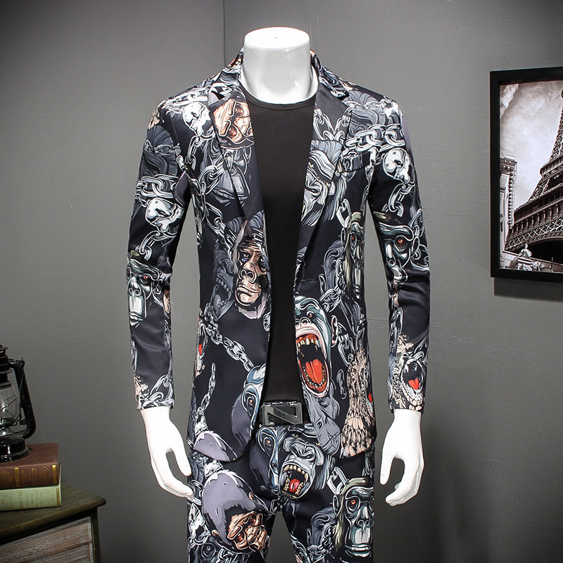 2019 New Mens Fashion Boutique Printed Casual S Blazer Suits Jacket / Mens Groom Wedding Dress Suits Coats