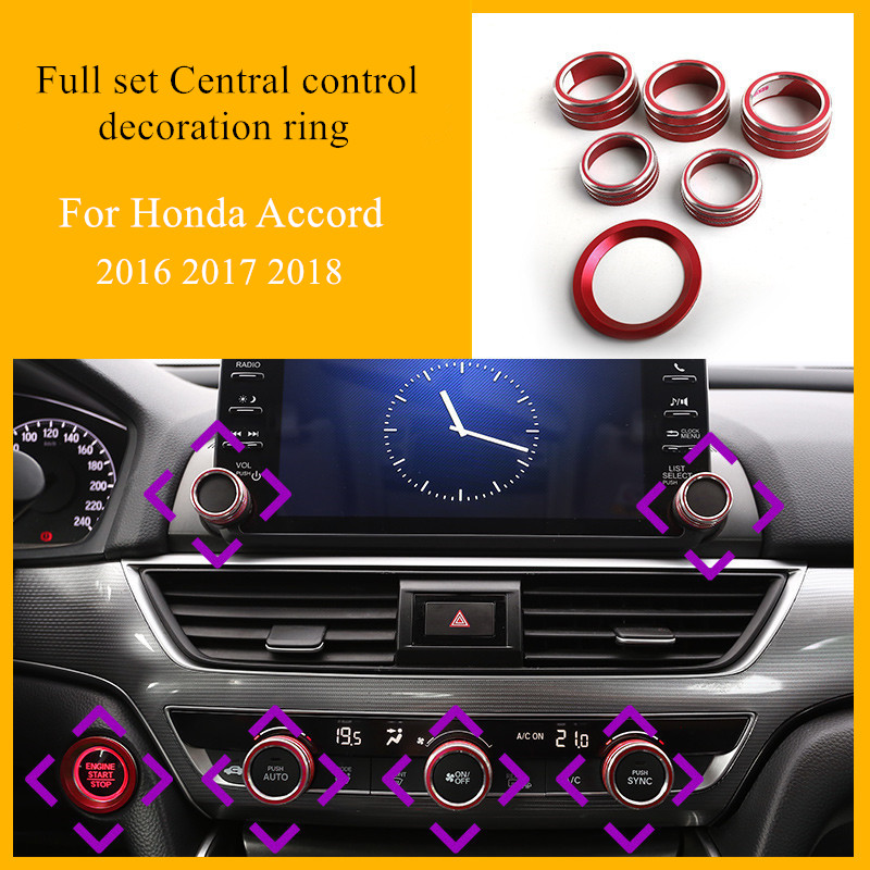 6pcs/set Aluminum alloy Car Display screen Air conditioning knobs Start button decorative ring For <font><b>Honda</b></font> <font><b>Accord</b></font> 2016 2017 2018 image