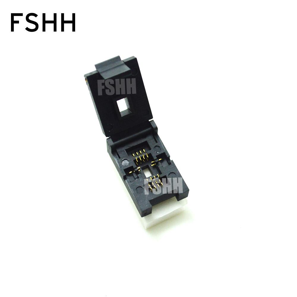 Prix pour QFN8 Test Socket WSON8 MLF8 DFN8 Prise (Flip test siège) Pas = 1.27mm Taille = 6x8mm