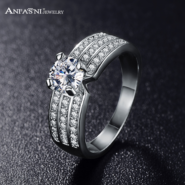 ANFASNI 2017 Top Finger Ring Gold /Rose Golden Color 3 Row With AAA Cubic Zircon