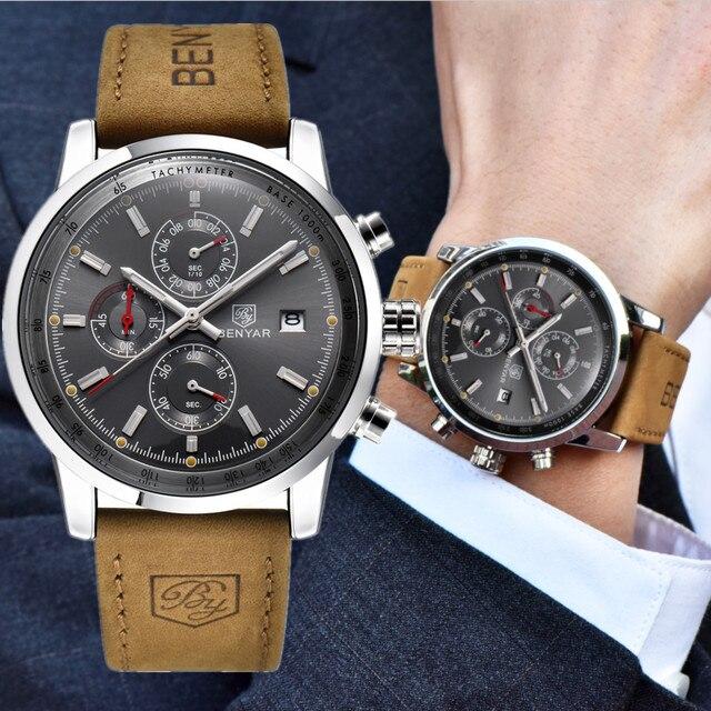 BENYAR Top Brand Luxury Sport Mens Watches Chronograph Waterproof Quartz Leather Watch Men Relogio Masculino erkek saati BY-5102