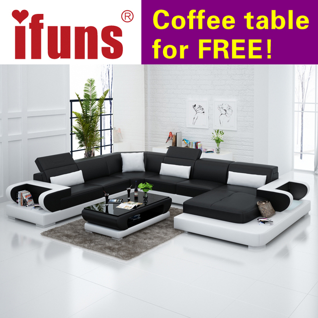 IFUNS Couches For Living Room Modern Leather Sectional Sofa U Shaped New  Design Genuine Leather Sofa