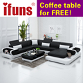 Ifuns sofás de salón seccional de cuero moderno sofá en forma de u de nuevo diseño de cuero genuino conjunto de sofás muebles