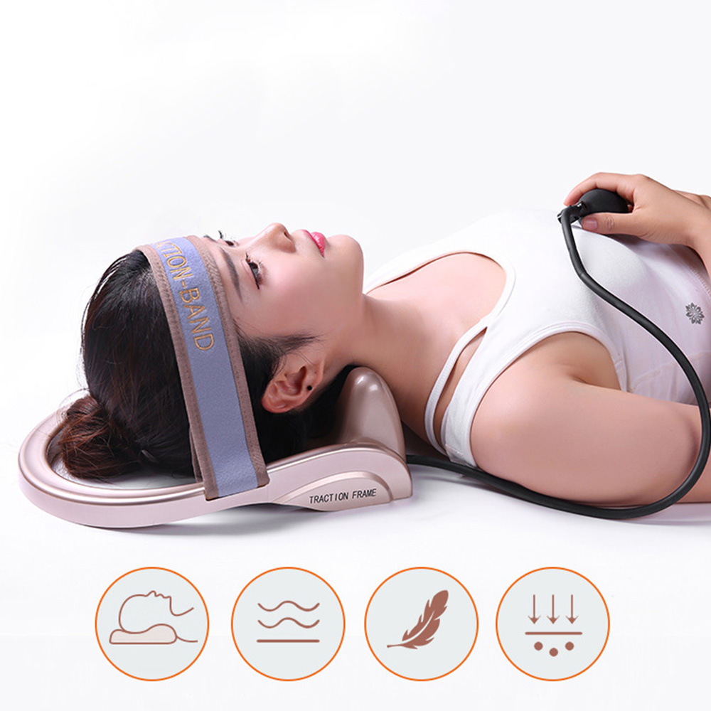 MOKARLE Neck Traction Portable Cervical Tractor Filled Air Posture Pump Relaxing Vertebra Massager Spine Muscle Relief Pain Tool