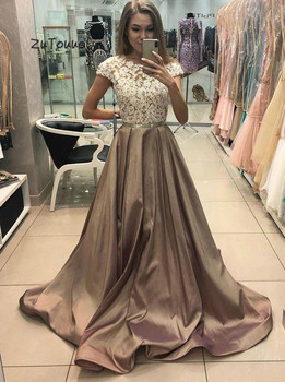 Princess Evening Dress A Line Scoop Illusion Lace Long Party Dresses For Prom Cap Sleeves Satin Formal Evening Gowns With Beaded