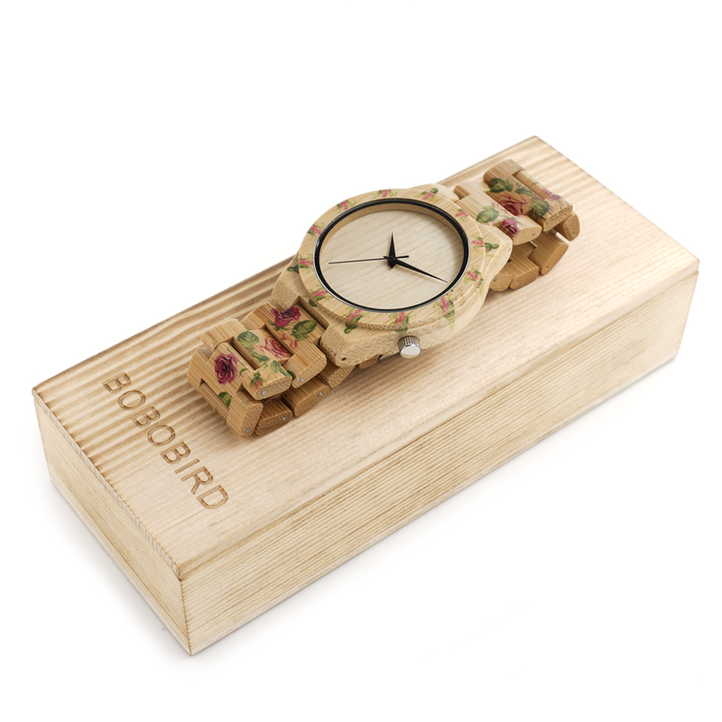 2017 New Design BOBO BIRD Luxury Brand Women Wood Watches Bamboo Quartz Wooden Watch relogio feminino C-D21