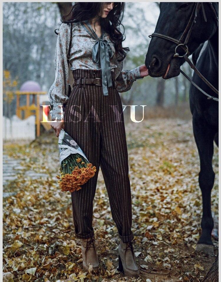 Женские шерстяные брюки в полоску с высокой талией в английском стиле на весну и осень, повседневные обтягивающие брюки до щиколотки - 2