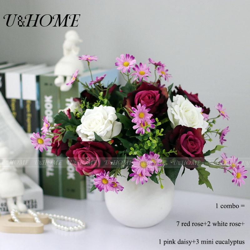Artificial DIY collocation bouquet <font><b>flowers</b></font> silk pink rose eucalyptus plant high quality for home table wedding decoration bulk