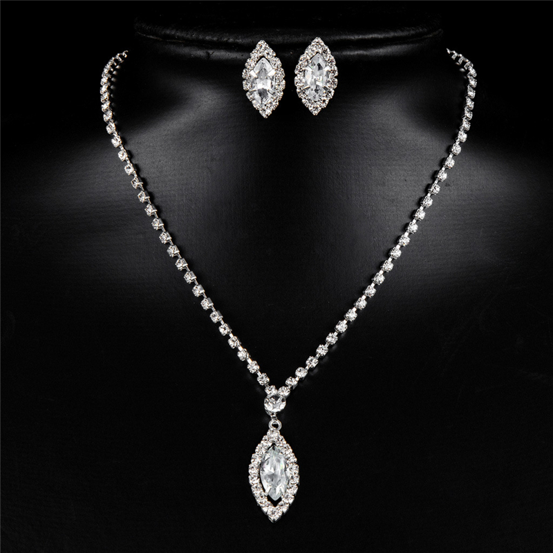 Water Drop Stud Earring Bride Jewelry Sets Pendant Necklace Crystal Magic Space Jewelry Set For Women in Jewelry Sets from Jewelry Accessories