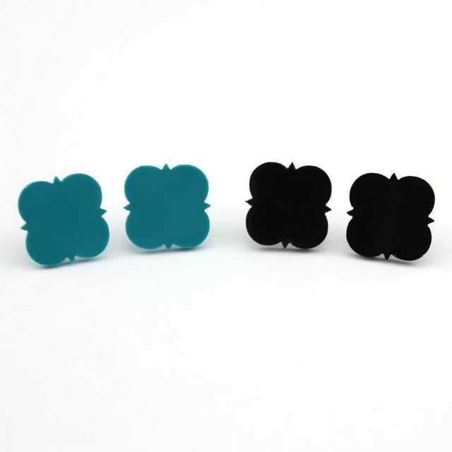 7d92ac461 Monogram Jewelry 16mm Post Earrings Mint Acrylic Clover Disc Blank Stud  Earrings for Women Round Monogram