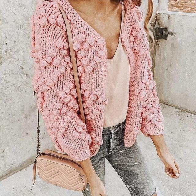 2018 Winter Sweater Hand Knit Pom Poms Cardigan Jacket Women Sweaters Soft  Thick Warm Cardigan Top Loose Knitted Jumper Tops db23fcb85e