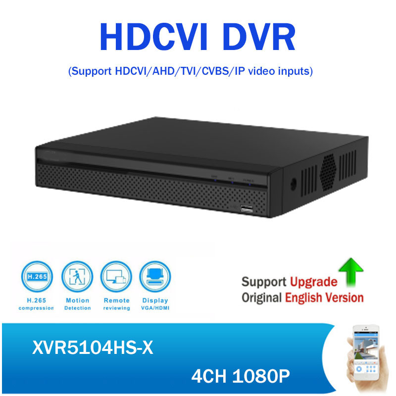 DH XVR Recorder XVR5104H-S2 1080P 4CH CCTV DVR support HDCVI/ AHD/TVI/CVBS/IP video input Mini Digital Video Recorder dahua xvr video recorder 16ch 1080p replace nvr and dvr dh xvr7216an p2p support hdcvi ahd tvi cvbs ip 1u digital video recor