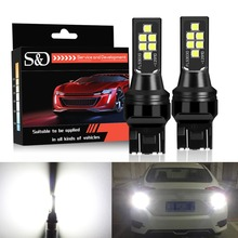 2pcs T20 LED 7440 7443 SRCK W21W W21/5W WY21W Bulbs Car Reverse Brake Tail Lights White Red Amber Auto Lamp 12V 24V