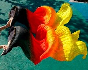 Image 4 - 2018 yüksek kaliteli oryantal dans ipek hayranları el yapımı el boyalı doğal ipek 1 çift oryantal dans fanlar siyah + kırmızı turuncu + sarı