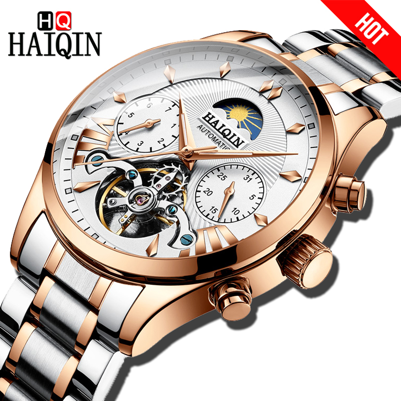 HAIQIN luxury Brand Men Watches Automatic Mechanical Clock classic Business Watch Men sport Waterproof Male Wrist