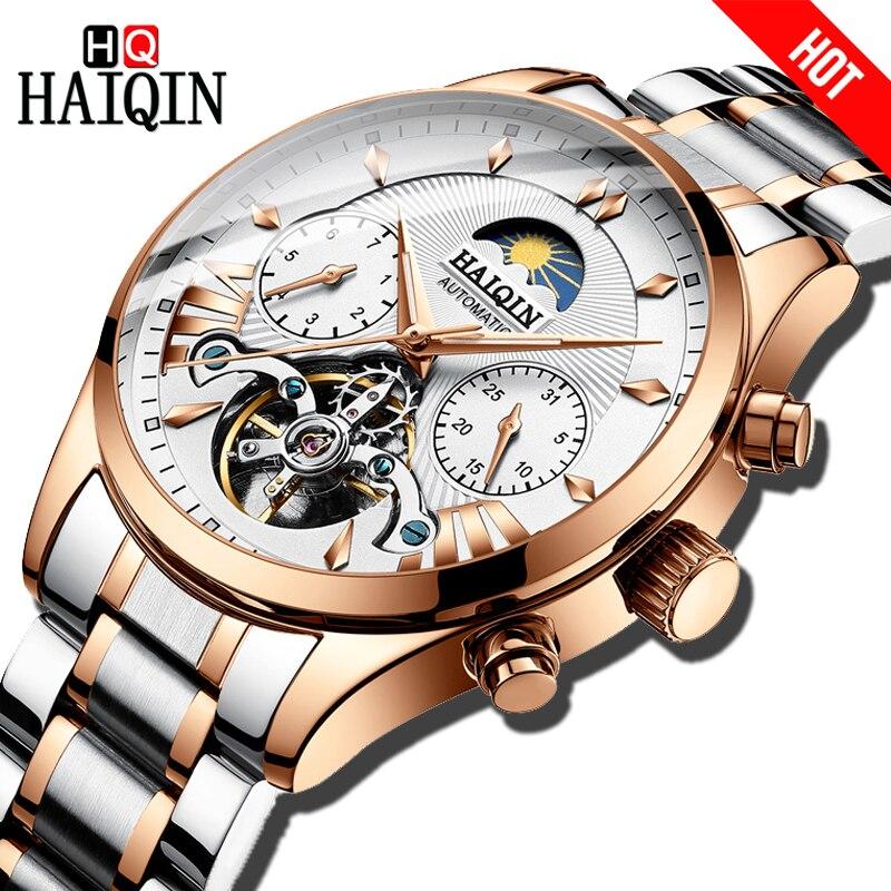 HAIQIN luksusowe markowe zegarki męskie automatyczne mechaniczne zegar klasyczny biznes zegarek mężczyźni sport wodoodporny męski zegarek na rękę Relogio w Zegarki mechaniczne od Zegarki na  Grupa 1