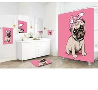 Polyester Waterproof Mildewproof dog Shower Curtain included bath mat and Wipe cloth match for Bathing Curtain