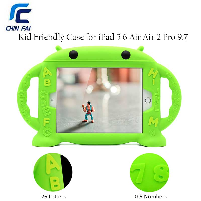 Chinfai Kid Tablet Case for iPad 5 iPad 6 Shockproof soft Silicone Case for iPad Air 2 Protective Cover for Apple iPad Pro 9.7''