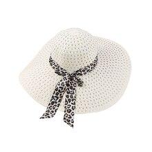 Модные женские соломенные шляпы летние богемные с широкими полями лента бант пляжная кепка летний бант Зонт соломенная шляпа