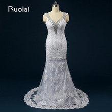 Real Picture Vestido de Novia Straps Beaded Sweetheart Lace Mermaid Crystal Wedding Dresses Long Bridal Gown for Wedding ASAFN56