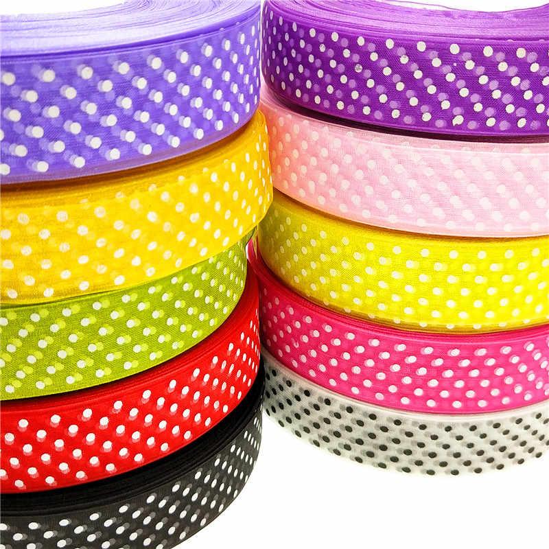 """20 חצר/הרבה 1 """"25 מ""""מ 10 צבעים מודפסים נקודות סרטי אורגנזה להכנת תכשיטי ראש מסיבת חתונה עטיפת קופסא מתנה DIY דקורטיבי"""