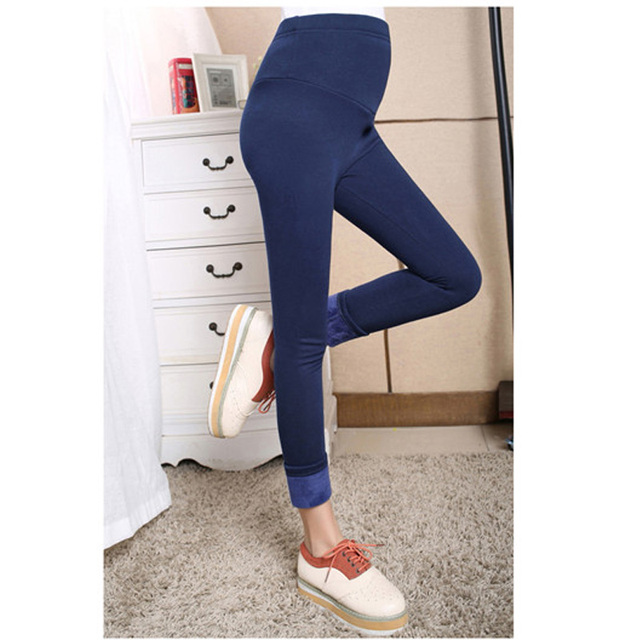 Warm High Waist Suspender Pregnancy Trousers Winter Velvet Thickening Maternity Leggings Pants Clothes For Pregnant Women Retail