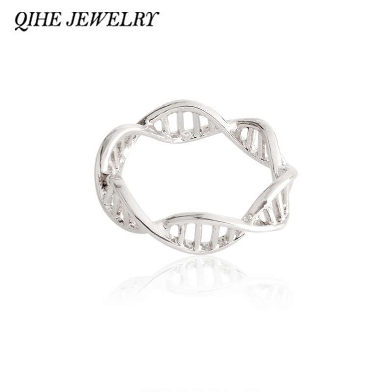 QIHE JEWELRY font b Chemistry b font Science 3D Printed DNA Ring Gold Silver Color Medical