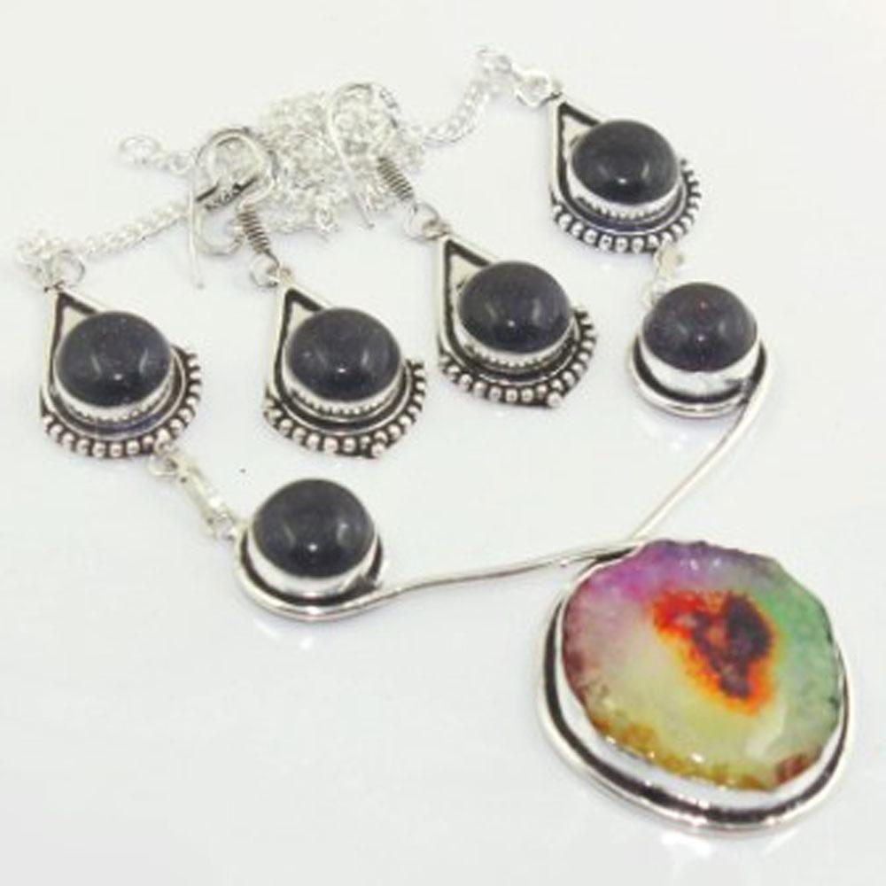 Anillos solares de varios colores y collar de ónix negro pendientes de plata sobre cobre, 44 cm, N3333