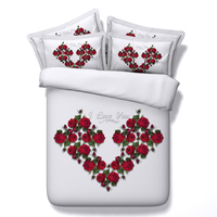 Rose Heart Bedding Sets White Bed Linens Queen Twin Full King Size Duvet Quilt Cover 3