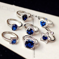 Fashion Vintage Amazing Graceful AAA Cubic Zirconia Royal Blue Ring Pave Setting Square Or Heart Oval