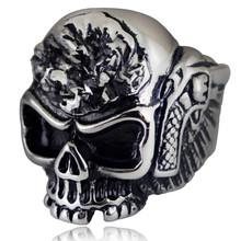 HNSP Motorcycle LOGO Skull Ring For Men Finger Punk jewelry Male Biker Rings Anel