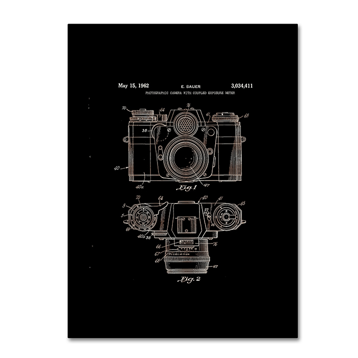 Claire Doherty Photographic Camera Patent 1962 Black 14 x 19 Canvas Art