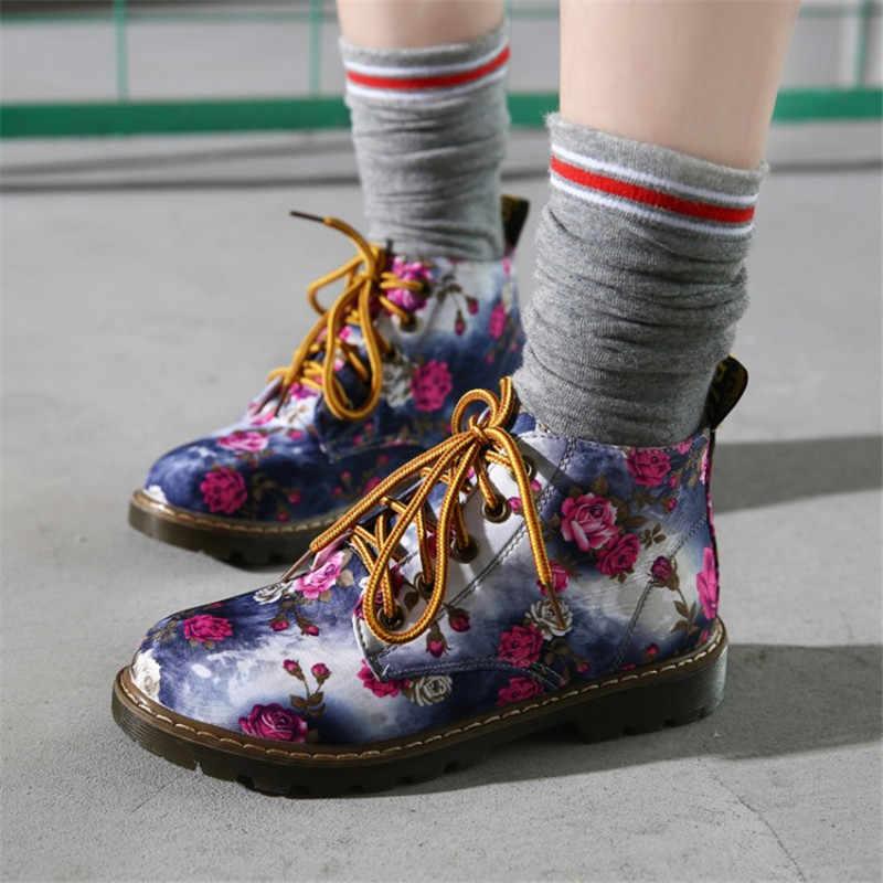 COOTELILI/осенние женские ботильоны повседневная обувь на низком каблуке с цветочным рисунком на плоской подошве женские оксфорды мотоциклетные ботинки на шнуровке, большие размеры 40