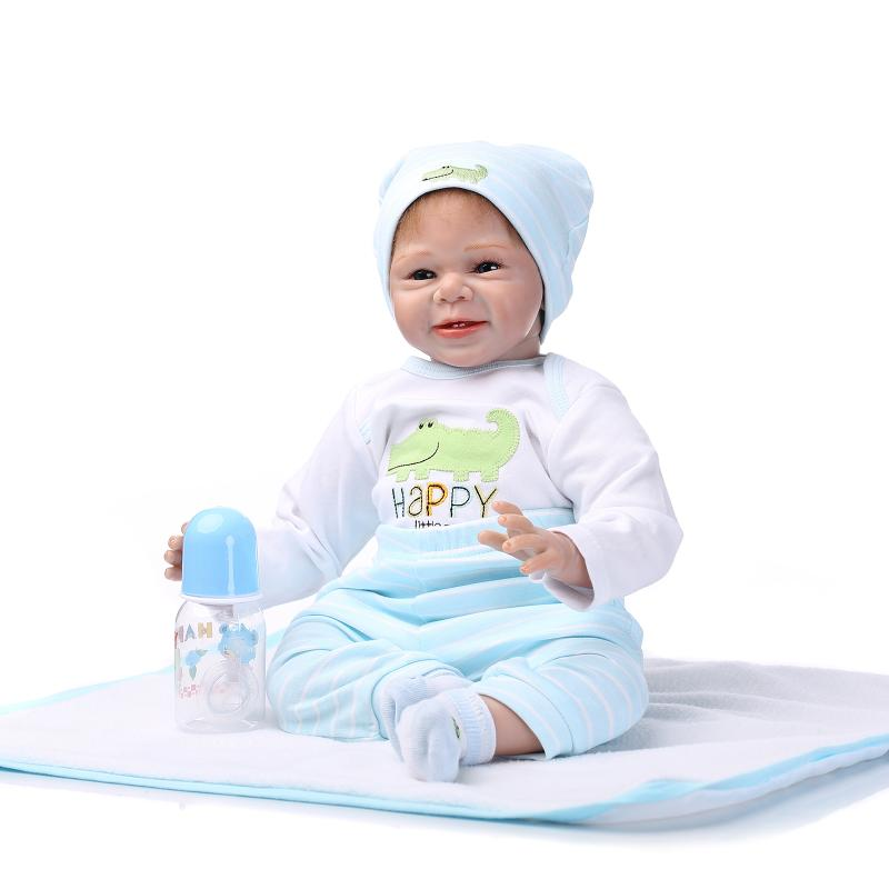 NPK 55cm Soft Silicone Reborn Dolls Baby Realistic cute smile Doll Reborn Boneca BeBe Reborn Doll For Girls warkings reborn