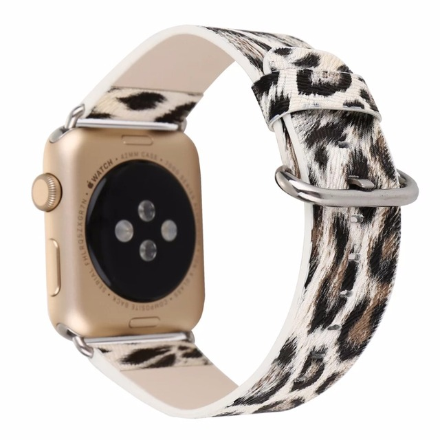 Leopard Prints Leather Watch Band for 38/40mm 42/44mm