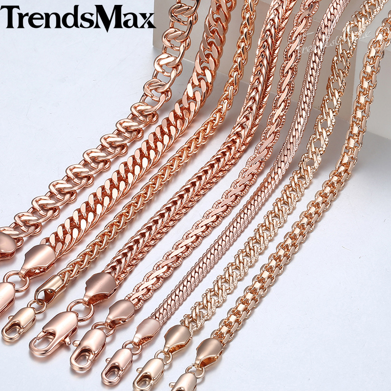 Trendsmax Necklace for Women Men 585 Rose Gold Curb Snail Fo