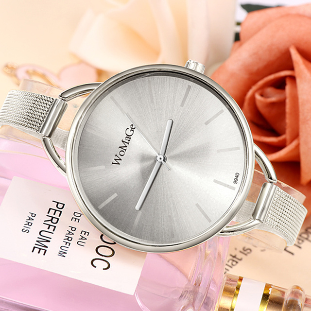 2018 New Luxury Gold Silver Wrist Watch Women Small Steel Strap Bracelet Watches