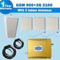 3G 65db Gain GSM 900 WCDMA 2100MHz cellphone repeaters signal Booster amplifier mobile signal receiver+3 panel antennas+lpda