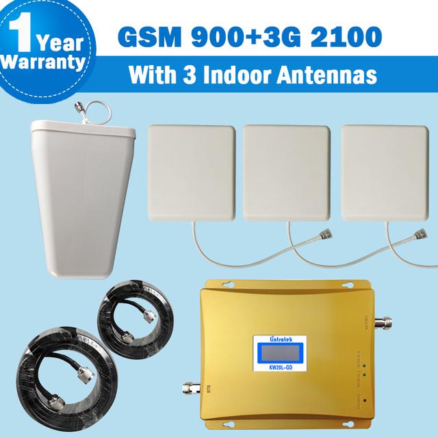 3G Ganancia 65db GSM 900 WCDMA 2100 MHz repetidores de señal de teléfono celular amplificador de señal móvil de Refuerzo receptor + 3 panel antenas lpda