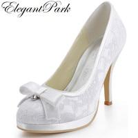 EL 003 PF White Round Toe Rhinestone Bow 4inch Stiletto Heel Platform Lace Upper Satin Women
