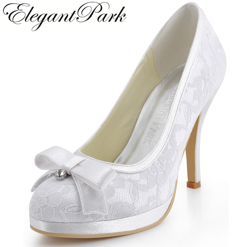 Shoes woman EL-003-PF White Ivory Red High Heels Round Toe Diamond Bow Platform Pumps Lace Satin Lady Women Bridal Wedding Shoes