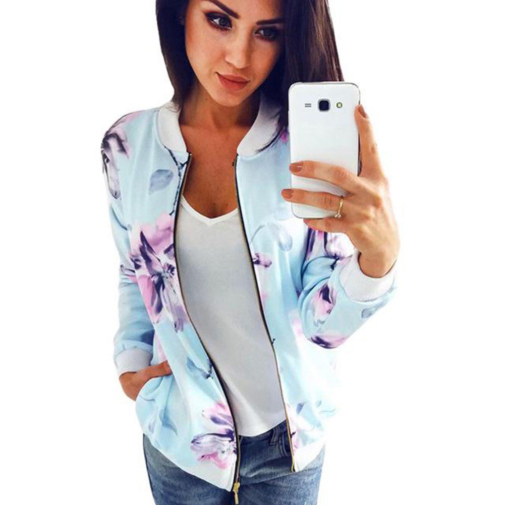 Women Ladies Retro Floral Zipper Up Bomber Jacket Casual Coat Outwear