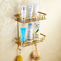 Classic Antique Bronze Bask Storage Wall Mounted Double Layer Cosmetic Basket Shelf Bathroom Accessories Shampoo Rack