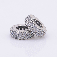 Original Abstract Silver Beads With Cubic Zirconia 925 Sterling Silver Charm Beads Fits For Pandora Bracelets